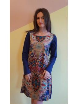 Rochie albastra cu imprimeu indie