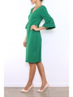Rochie verde cu maneca clopot