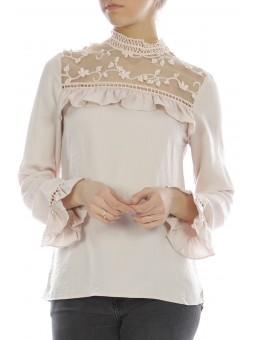 Bluza roz pal cu detalii din dantela