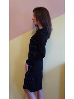 Rochie neagra cu model geometric
