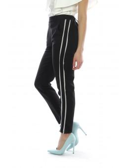 Pantaloni negri cu dungi laterale albe