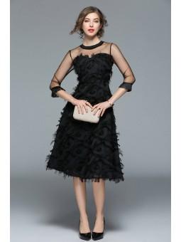 Rochie neagra, midi, eleganta
