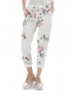 Pantaloni albi cu imprimeu