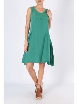 Rochie din in de culoare verde