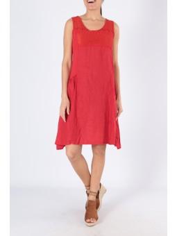 Rochie rosie din in