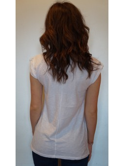 Tricou alb cu imprimeu colorat