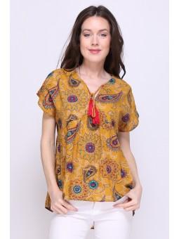 Bluza camel cu imprimeu
