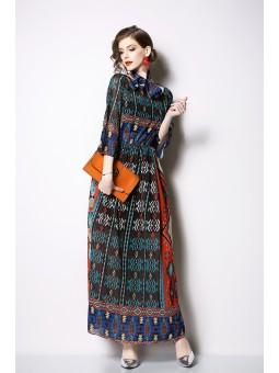 Rochie lunga cu imprimeu etnic
