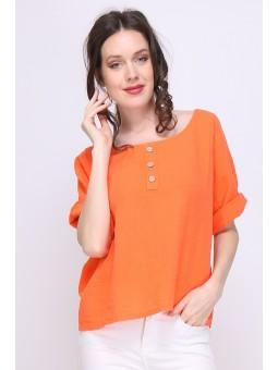 Bluza portocalie din in cu...