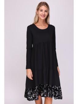 Rochie neagra midi cu bordura