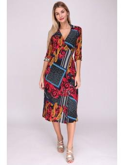 Rochie midi multicolora