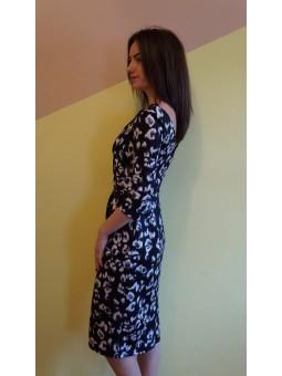 Rochie eleganta neagra cu imprimeu alb