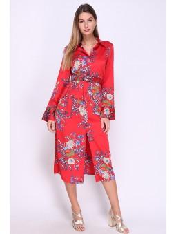 Rochie rosie stil camasa
