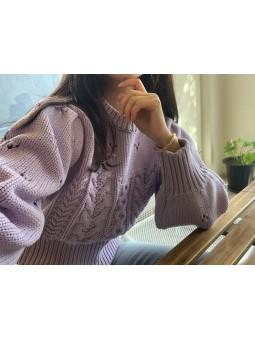 Pulover lila tricotat