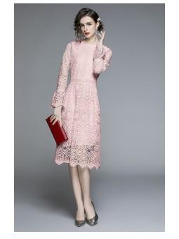 Rochie roz crosetata