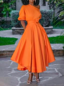 Rochie portocalie lunga clos