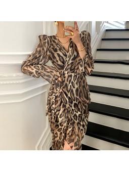 Rochie midi leopard print