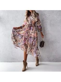 Rochie midi lila cu imprimeu