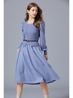 Rochie bleu din tricot si...
