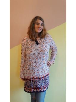 Bluza lunga cu imprimeu si canafi