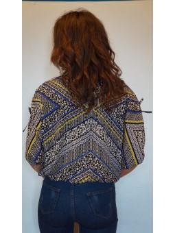 Bluza cu imprimeu si bata elastica