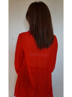 Bluza dama rosie cu dantela alba