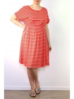Rochie in imprimeu cu dungi rosii