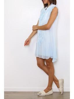 Rochie bleu cu volanase in fata