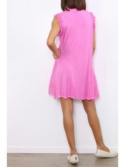 Rochie roz cu volanase